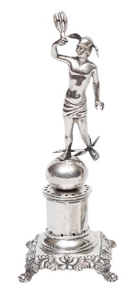 """Paliteiro de coleção em prata portuguesa contraste """"P Coroa"""", séc. XIX, representando """"M"""