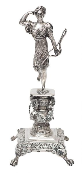 """Paliteiro de coleção em prata portuguesa, contraste """"L Coroa"""", representando """"Diana Caça"""