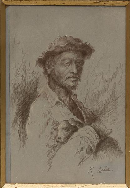 """RAIMUNDO CELA (1890-1954). """"Vaqueiro com Cãozinho no Colo"""", técnica mista, 17 X 11. Assinado"""