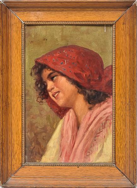 """VINCENZO IROLLI (ITÁLIA, 1860-1942/49). """"A Napolitana"""", óleo s/ madeira, 29 X 18. Assinado n"""