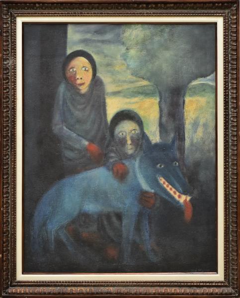 """JOSÉ MARIA DE SOUZA (1935-1985). """"Cão Azul"""", óleo s/ tela, 114 X 88. Assinado no c.i.d e datado (1967) no verso. Reproduzido com foto no catálogo."""