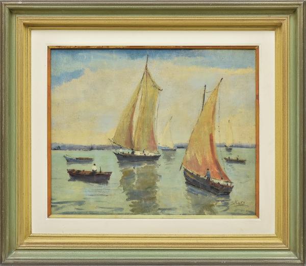 """SYLVIO PINTO (1918-1997). """"Barcos de Pescadores na Baía de Guanabara - Rio"""", óleo s/ tela, 45 X 55. Assinado no c.i.d. Década de 40. Reproduzido com foto no catálogo."""