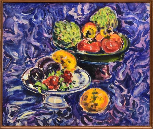"""SERGIO TELLES (1936). """"Frutos Tropicais sobre Toalha Azul"""", óleo s/ madeira, 46 X 54,5. Assinado e datado (2008) no c.i.e. com autenticação no verso. Reproduzido com foto no catálogo."""