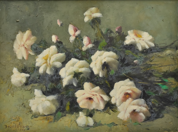 """DURVAL PEREIRA (1917-1984). """"Rosas Brancas sobre a Mesa"""", óleo s/ tela, 61 X 80. Assinado e datado (1963) no c.i.e. Reproduzido com foto no catálogo."""
