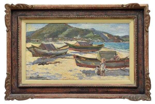 """OSWALDO TEIXEIRA (1904-1975). """"Canoas e Crianças na Praia dos Anjos em Cabo Frio - RJ"""", óleo s/ madeira, 40 X 71. Assinado no c.i.e. e datado (1964) no verso. Reproduzido com foto no catálogo."""