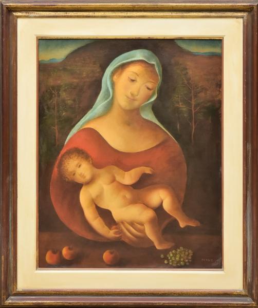 """TERUZ, ORLANDO (1902-1984). """"Madonna com Menino"""", óleo s/ tela, 92 X 74. Assinado no c.i.d. e datado (1978) no verso. Reproduzido com foto no catálogo."""