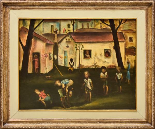 """TERUZ, ORLANDO (1902-1984). """"Brincadeiras de Criança"""", óleo s/ tela, 74 X 92. Assinado no c.i.d. Reproduzido com foto no catálogo."""