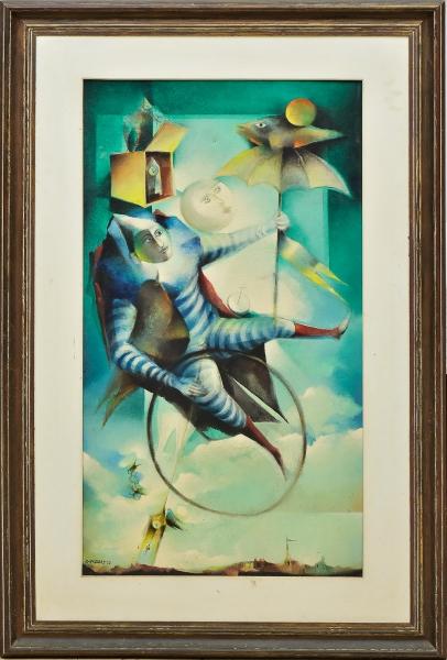 """RAPOPORT, ALEXANDRE (1929). """"O Enigma do Tempo e Esperança (Homenagem ao Poeta Fernando Pessoa)"""", óleo s/ tela, 100 X 55. Assinado e datado (1972) no c.i.e. e no verso. Reproduzido com foto no catálogo."""
