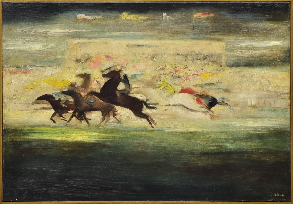 """BIANCO, ENRICO (1918-2013). """"Corrida de Cavalo no Jóquei"""", óleo s/ tela, 45 X 61. Assinado no c.i.d. e no verso. (Anos 50). Reproduzido com foto no catálogo."""