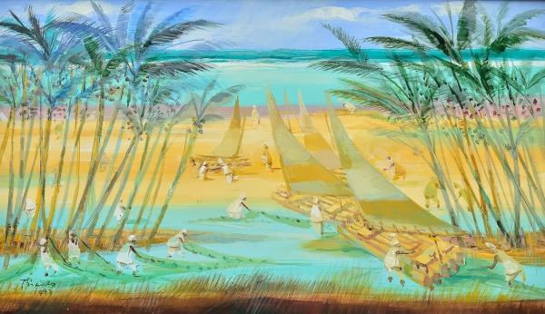 """BIANCO, ENRICO (1918-2013). """"Jangadeiros em Praia do Ceará"""", óleo s/ tela, 35 X 60. Assinado e datado (1997) no c.i.e. e no verso. Reproduzido com foto no catálogo."""