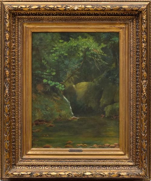 """BAPTISTA DA COSTA, JOÃO (1865-1926). """"Floresta com Cascatinha no Alto da Tijuca"""", óleo s/ tela, 55 X 42. Assinado no c.s.d. Reproduzido com foto no catálogo."""