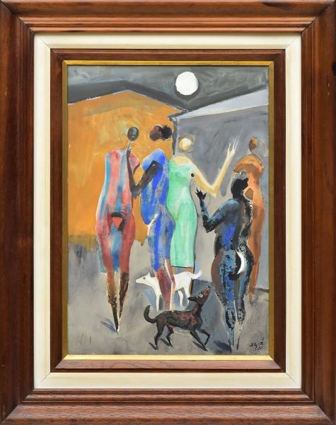 """CARYBÉ, HECTOR (1911-1997). """"Noite de Luar"""", aquarela, 56 X 41. Assinado e datado (1980) no c.i.d. Reproduzido com foto no catálogo."""