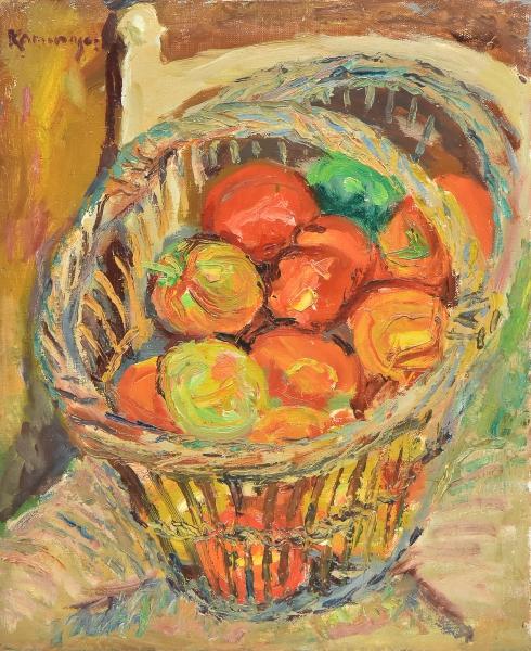 """KAMINAGAI,TADASHI (1889-1982). """"Cesto de Tomate sobre a Cadeira"""", óleo s/ tela, 46 X 38. Assinado no c.s.e. Reproduzido com foto no catálogo."""