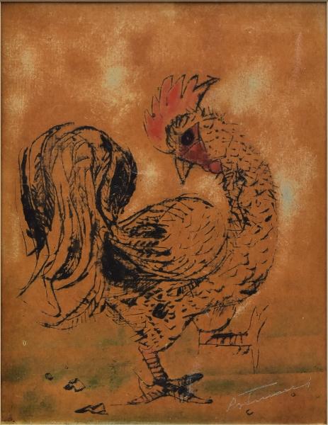 """PORTINARI, CÂNDIDO (1903-1962). """"O Galo"""", gravura em metal (ponta-seca) impressa em papel e realçada à aquarela, 23,5 X 18. Assinado no c.i.d. Similar reproduzido na p. 321 do livro Cândido Portinari (catálogo raisonné) e no Projeto Portinari, sob o nº 1694 (FCO858). Reproduzido com foto no catálogo."""