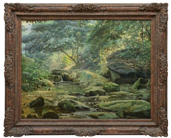 """EDGAR WALTER (1917-1994). """"Paisagem de Mata Atlântica com Riacho - Rio"""", óleo s/ tela, 90 X 116. (Década de 50). Assinado no c.i.e. Reproduzido com foto no catálogo."""