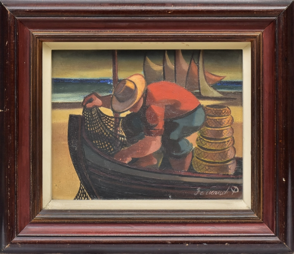 """FERNANDO P. (1917-2005). """"Pescador com Barco e Rede"""", óleo s/ tela, 19 X 24. Assinado no c.i.d. e no verso."""