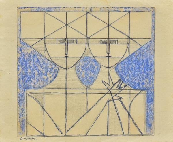 """DACOSTA, MILTON (1915-1988). """"Composição com Casal"""", técnica mista, 15 X 18. Assinado no c.i.e."""