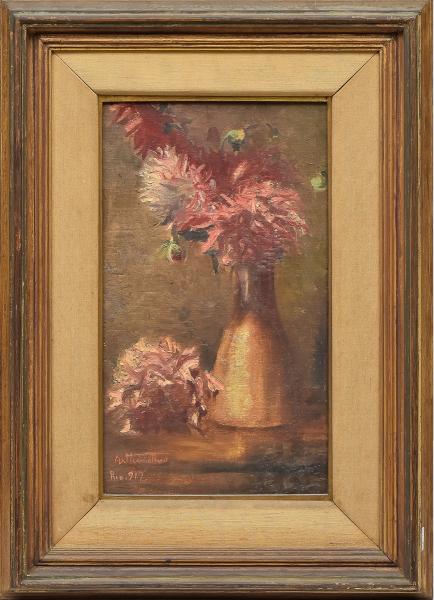 """ARTUR TIMOTHEO DA COSTA (1882-1923). """"Vaso com Flores sobre a Mesa"""", óleo s/ tela colado na madeira, 48 X 29. Assinado, datado (1917) e localizado (Rio) no c.i.e. Reproduzido com foto no catálogo."""