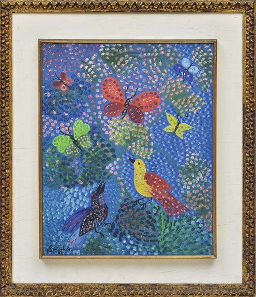 """GRAUBEN MONTE LIMA (1889-1972). """"Pássaros e Borboletas na Floresta"""", óleo s/ tela, 42 x 34. Assinado e datado (1968) no c.i.e. Reproduzido com foto no catálogo."""