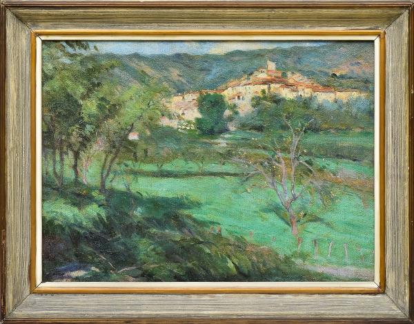 """GOTUZZO, LEOPOLDO (1887-1983). """"Aldeia de Palalda-Sur-Tech - França"""", óleo s/ tela, 41 X 56. Assinado no c.i.e. e datado (1918) no verso. Reproduzido com foto no catálogo."""