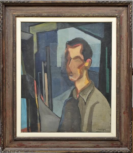 """FRANS KRAJCBERG (1921). """"Auto Retrato"""", óleo s/ tela, 73 X 60. Assinado e datado (1951) no c.i.d. Reproduzido com foto no catálogo."""