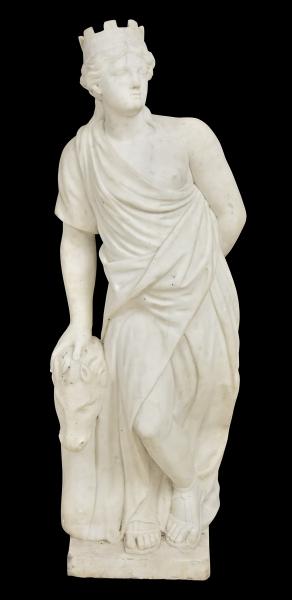 """ESCOLA ITALIANA - SÉC.XIX. """"Hipólita"""", escultura em mármore de Carrara. Alt.: 1,30m. Hipólita é uma personagem da mitologia grega considerada """"Rainha das Amazonas"""". (Marcas do tempo). Reproduzido com foto no catálogo."""