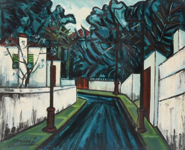 """INIMÁ DE PAULA (1918-1999). """"Paisagem com Casario em Santa Teresa"""", óleo s/ tela, 61 X 73. Assinado e datado (1965) no c.i.e. Reproduzido com foto no catálogo."""