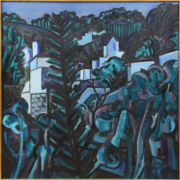 """INIMÁ DE PAULA (1918-1999). """"Paisagem Mineira com Casario"""", óleo s/ tela, 105 X 105. Assinado e datado (1965) no c.i.d. Reproduzido com foto no catálogo."""