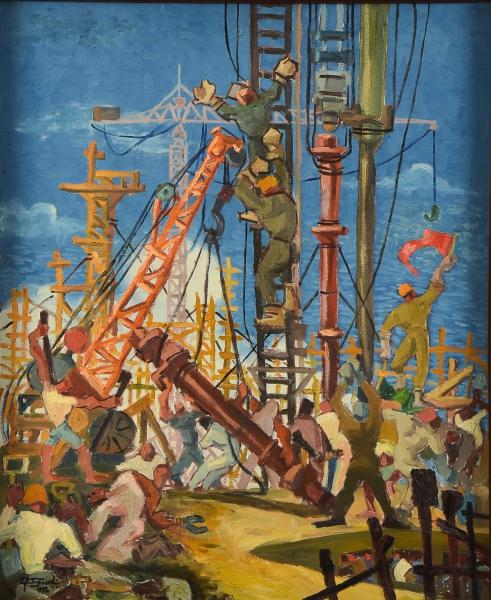 """SIGAUD, EUGÊNIO PROENÇA (1899-1979). """"O Bate Estaca"""", óleo s/ tela, 72 X 60. Assinado e datado (1972) no c.i.e. e no verso. Reproduzido com foto no catálogo."""