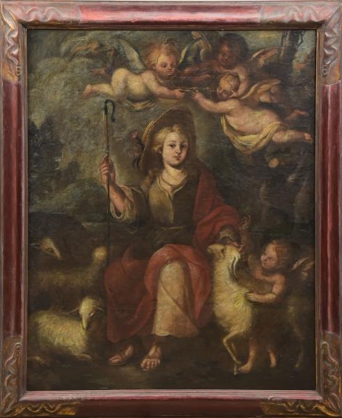 """ESCOLA PORTUGUESA (SÉC. XVIII). """"São João Batista Menino"""", óleo s/ tela, 116 X 93. Reproduzido com foto no catálogo."""