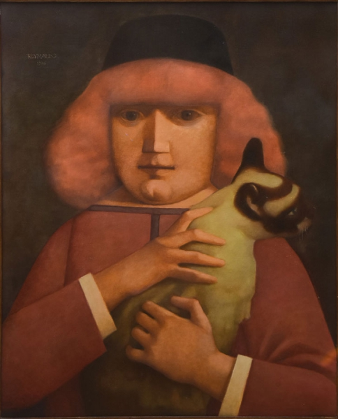 """REYNALDO FONSECA (1925). """"Menina com Gatinho"""", óleo s/ tela, 100 X 81. Assinado e datado (1986) no c.s.e. No verso cachet da tradicional """"Galeria de Arte Ipanema"""". Reproduzido com foto no catálogo."""