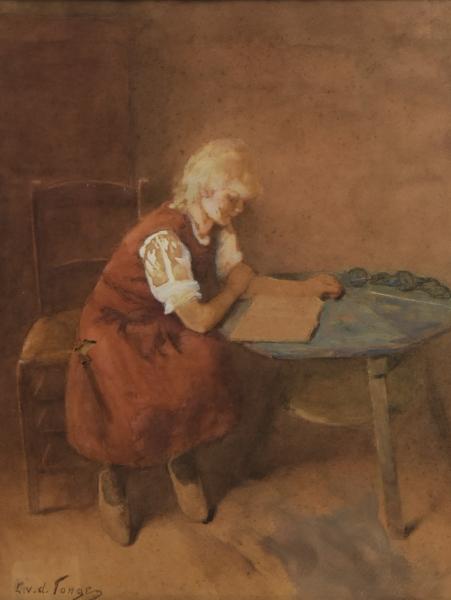 "LAMMERT LEIRE VAN DER TONGE (DINAMARCA, 1871-1937). ""Interieur Met Lezend Meisje"", aquarela,"