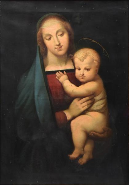 """EUGÈNE SCIPION D'HARMENON (FRANÇA, 1825-?). """"Madona com Menino"""", óleo s/ tela, 81 X 57."""