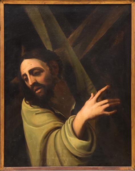 "GIOVANNI CARBONE (ITÁLIA, 1616-1683). ""Gesù con la Croce"",  óleo s/ tela, 81 X 65. Etiqueta"