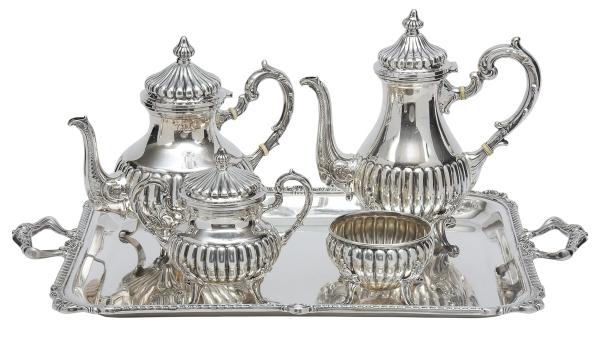 CAMUSSO-PERU. Aparelho para chá e café em prata 925mls contrastada, estilo