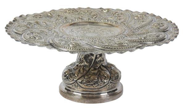 """Salva de esmola com coluna em prata portuguesa """"L Coroa"""", contraste da Cidade de Lisboa, est"""