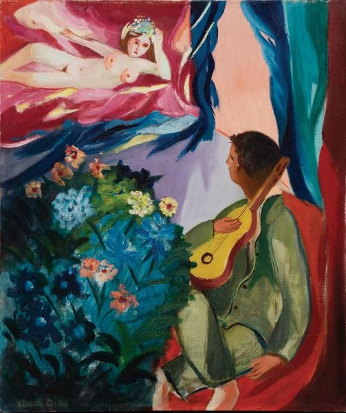 """CICERO DIAS (1907-2003). """"O Trovador e sua Musa"""", óleo s/ tela, 54 X 46. Assinado no c.i.e. Década de 40. Reproduzido com foto na capa do catálogo."""