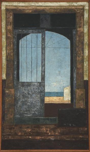 """JOSE PAULO MOREIRA DA FONSECA (1922-2004). """"Arquitetura e Distância"""", óleo s/ tela, 46 X 27."""