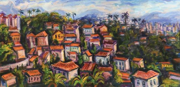 "SERGIO TELLES (1936). ""Panorama de Santa Teresa - RJ"", óleo s/ tela, 50 X 100. Assinado e da"