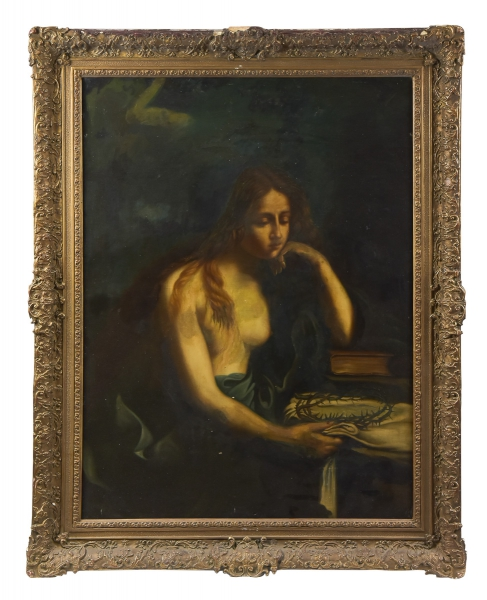 """ESCOLA PORTUGUESA (SÉC. XIX). """"Santa Maria Madalena Arrependida"""", óleo s/ tela, 103 X 77."""