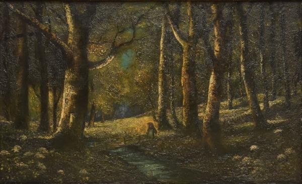 """ASSINATURA ILEGÍVEL (ESCOLA EUROPEIA, 1900). """"Menina na Floresta"""", óleo s/ tela, 88 X 142. A"""