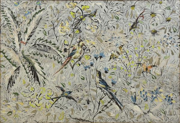 """GIORGIO GIOVANNI (ESCOLA ITALIANA, SÉC. XX). """"Floresta com Flores, Pássaros e Insetos"""", aqua"""