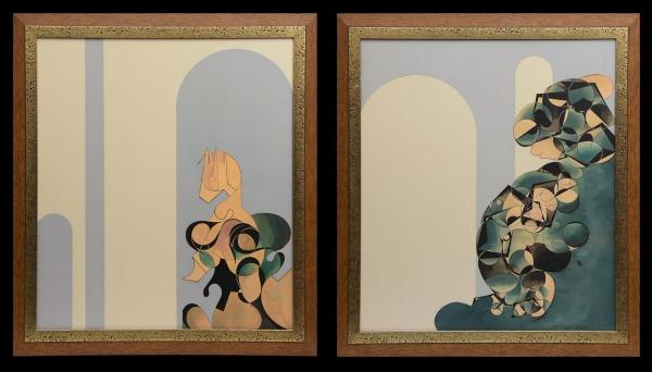 """BRASIL (SÉC.XX). Par de quadros, """"Composição com Figuras"""", guache, 78 X 68. Assinado e datad"""
