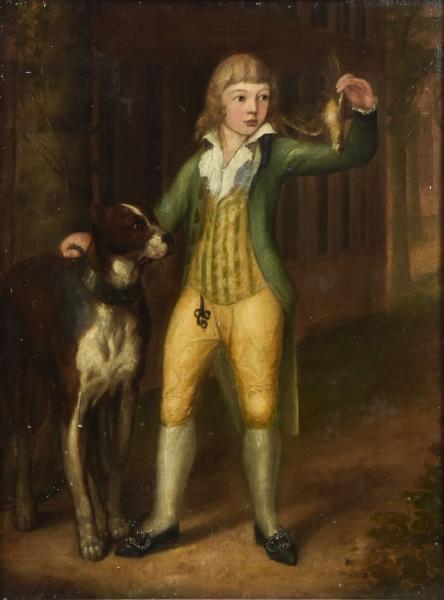 """ESCOLA AUSTRO-HÚNGARA (SÉC. XIX). """"O Príncipe e seu Cão"""", óleo s/ tela, 90 X 67. Assinado no"""