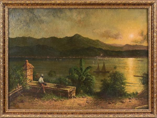 """MARTIN JOHNSON HEADE (E.U.A., 1819-1904). """"Panorama da Baía de Guanabara Vista pelo Forte São Domingos em Niterói em Meados do Séc. XIX"""", óleo s/ tela, 81 X 112. Atribuído (Sem assinatura). Reproduzido com foto no catálogo."""