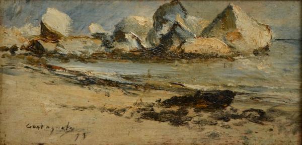 """CASTAGNETO, GIOVANNI BATTISTA (1851-1900). """"Canto de Praia em Paquetá - RJ"""", óleo s/madeira, 13 X 25. Assinado e datado (1894) no c.i.e. Reproduzido com foto no catálogo."""
