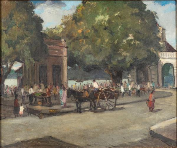"""SYLVIO PINTO (1918-1997). """"Feira na Praça 15 ao Lado do Albamar-RJ"""", óleo s/ tela, 55 X 65."""