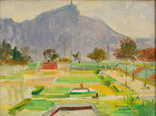 "YVONNE VISCONTI, CAVALLEIRO (1901-1965). ""Jardim de Alh ao Fundo Cristo Redentor-RJ"", óleo s"
