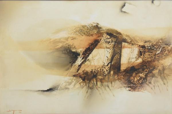 """SATYRO MARQUES (1935). """"Batalha"""" (Série Épica), óleo s/ eucatex, 40 x 60. Assinado e datado"""