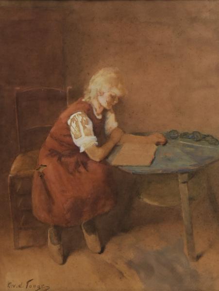 "LAMMERT LEIRE VAN DER TONGE (DINAMARCA, 1871-1937). ""As Primeiras Leituras da Menina Camponesa&#"